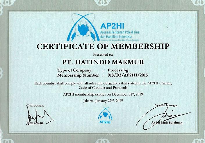 AP2HI Certificate -Hatindo Makmur 2019