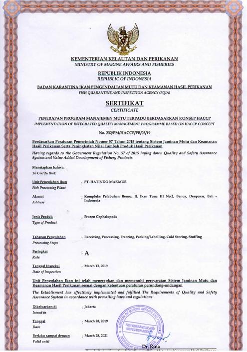 Frozen Cephalopods Certificate - Hatindo Makmur 2019