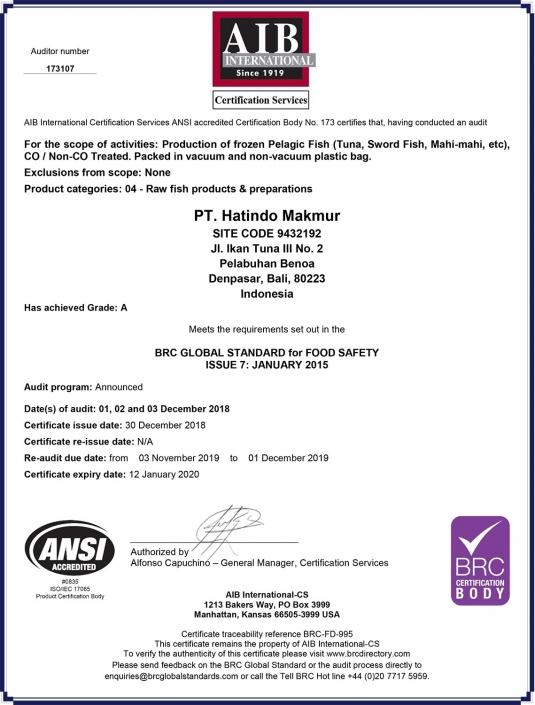 BRC Certificate - Hatindo Makmur 2019