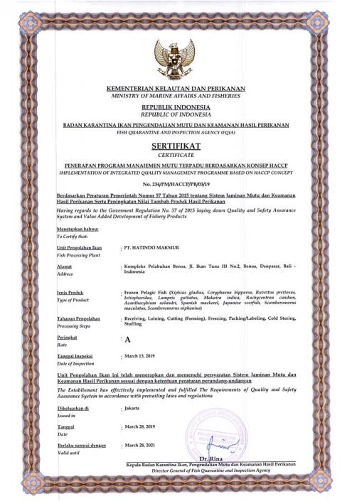 Frozen Pelagic Fish Certificate - Hatindo Makmur 2019