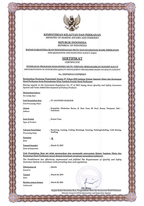 Frozen Tuna Certificate - Hatindo Makmur 2019